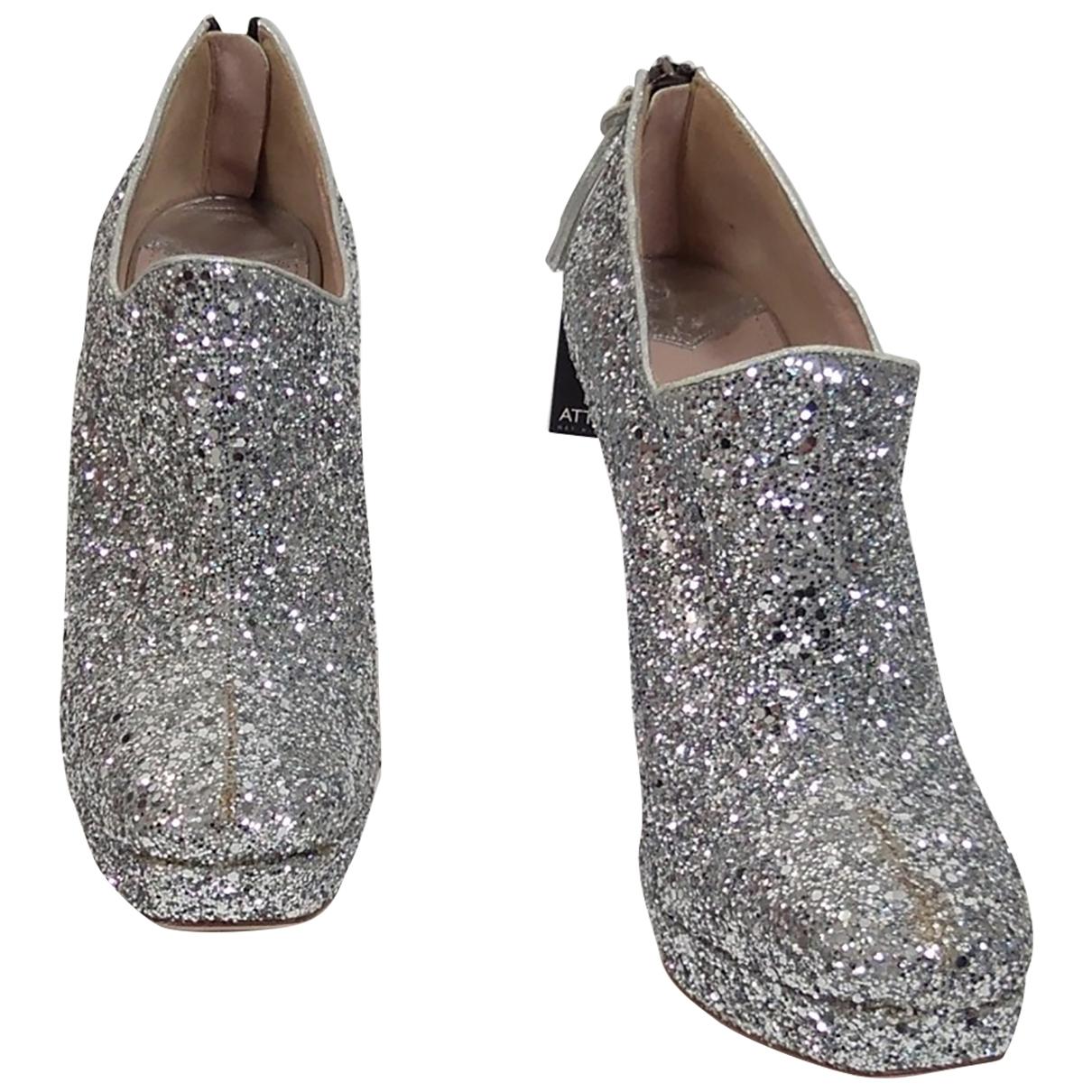 Miu Miu \N Silver Glitter Ankle boots for Women 39.5 EU
