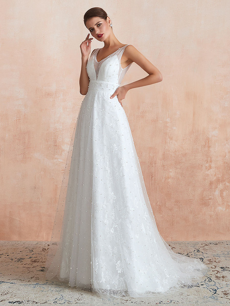 Milanoo Wedding Dress 2020 V Neck A Line Sleeveless Peals Beaded Bridal Gowns With Train