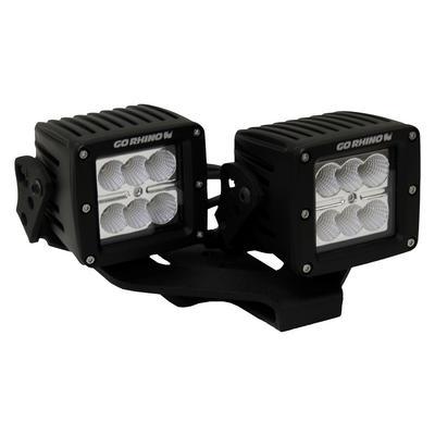 Go Rhino Center Hood Offset Mount for 3-inch LED Lights (Black) - 732231T