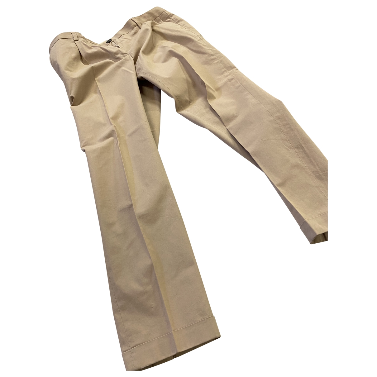 Mauro Grifoni \N Beige Cotton Trousers for Women 40 IT
