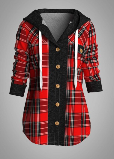 Plaid Button Front Hooded Collar Shirt - S