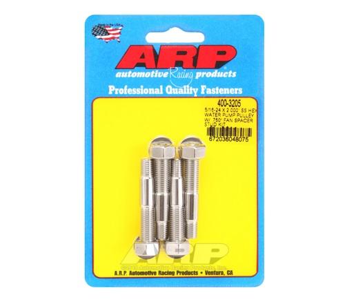 ARP 5/16-24 X 2.000 SS Hex Water Pump Pulley w/ .750in Fan Spacer Stud Kit