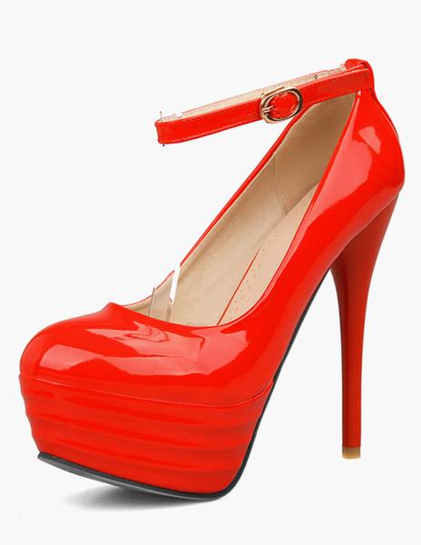 Milanoo Women's Platform Pumps Stiletto Heel Ankle Strap Dress Shoes