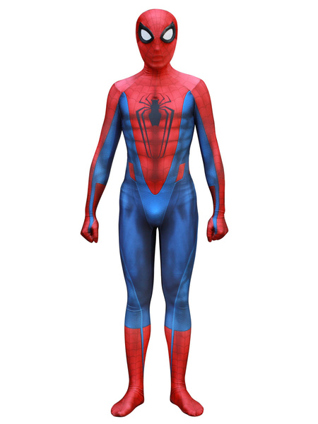 Milanoo Marvel Comics Spider Man Cosplay Spiderman Red Film Lycra Spandex Jumpsuit Leotard Marvel Comics