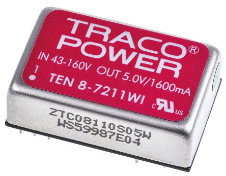 TRACOPOWER TEN 8WI 8W Isolated DC-DC Converter Through Hole, Voltage in 43 → 160 V dc, Voltage out 5V dc Railway