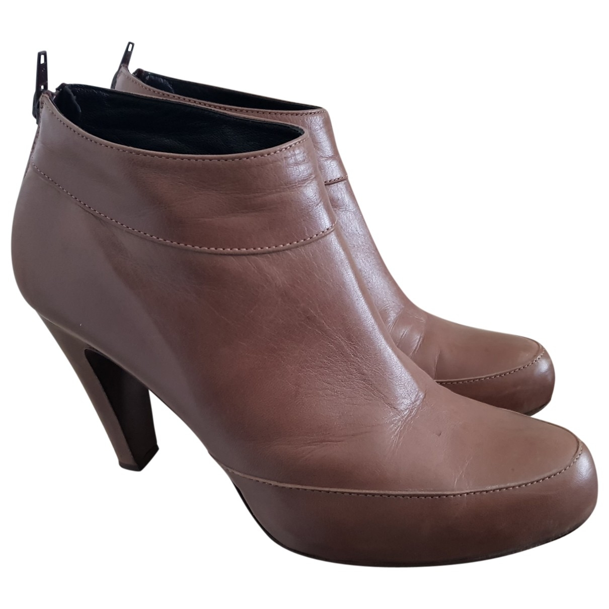 Non Signé / Unsigned \N Beige Leather Ankle boots for Women 40 EU