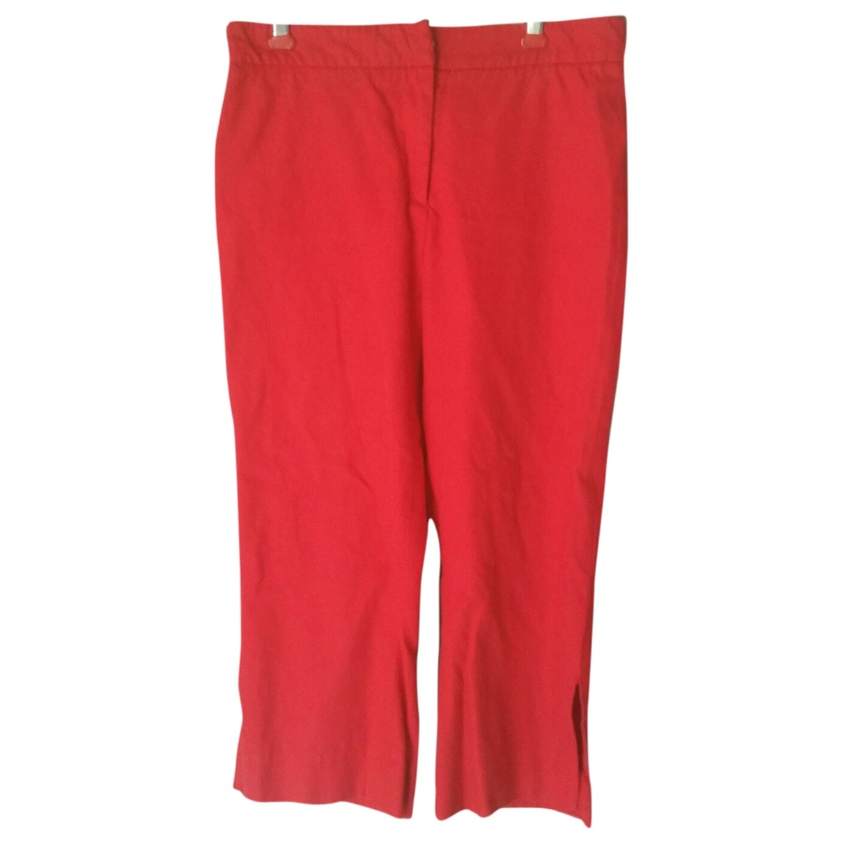 Burberry \N Red Cotton Trousers for Women 8 UK