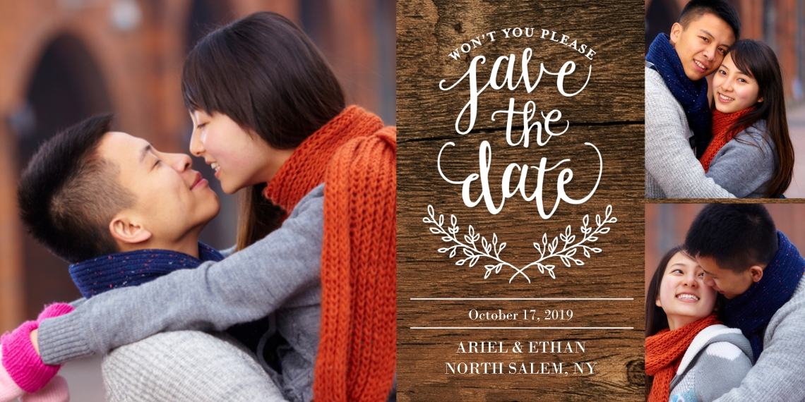 Save the Date Flat Matte Photo Paper Cards with Envelopes, 4x8, Card & Stationery -Save the Date Rustic