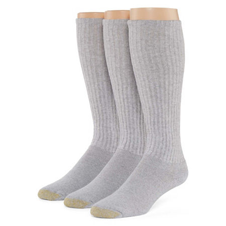 Gold Toe 3-pk. Athletic Liner Over-the-Calf Socks, 10-13 , Gray
