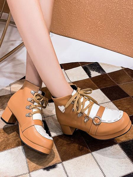 Milanoo Sweet Lolita Boots Round Toe PU Leather Lolita Footwear