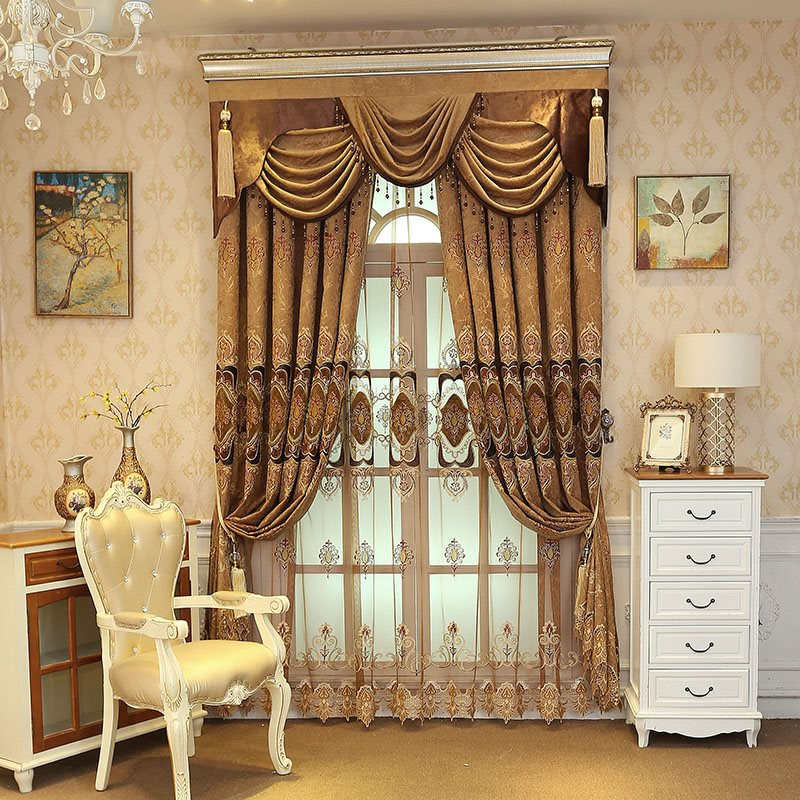 Luxury Coffee color Embroidered Floral Royal Style Custom Sheer Curtains