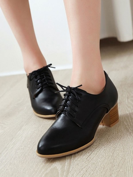 Milanoo Women Oxford Shoes Classic Round Toe PU Leather Lace Up Block Heel Casual Shoes
