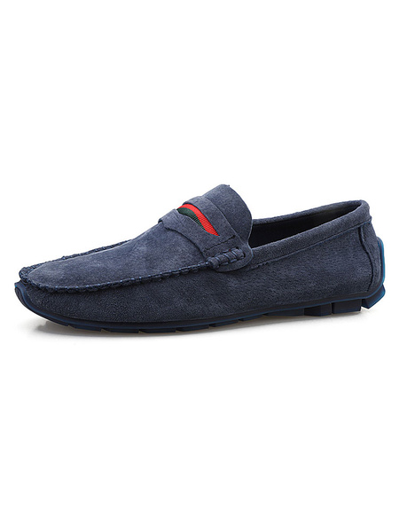 Milanoo Mens Suede Moccasin Penny Loafers Driving Shoes In Navy