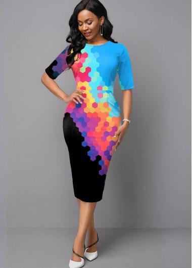 Rainbow Color Half Sleeve Gradient Printed Boat Neck Dress - 10