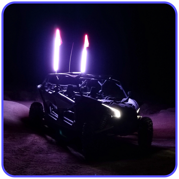LED Light Whip 2 Foot White W/Included Quick Disconnect Pyramid LED Whips 2ftwht
