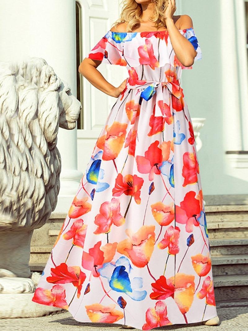 Ericdress Floor-Length Off Shoulder Split Mid Waist Floral Women's Dress