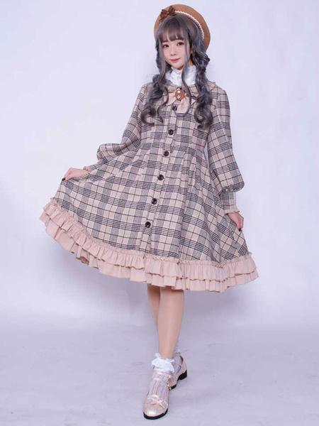 Milanoo Classic Lolita Overcoat Plaid Ruffle Bow Button Up Lolita Wool Coat