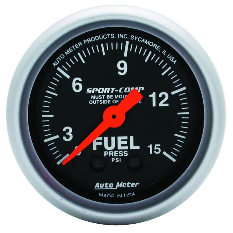 AutoMeter GAUGE; FUEL PRESSURE; 2 1/16in.; 15PSI; MECHANICAL; SPORT-COMP