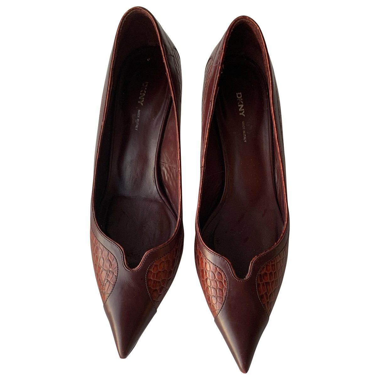 Dkny \N Burgundy Leather Heels for Women 9 US
