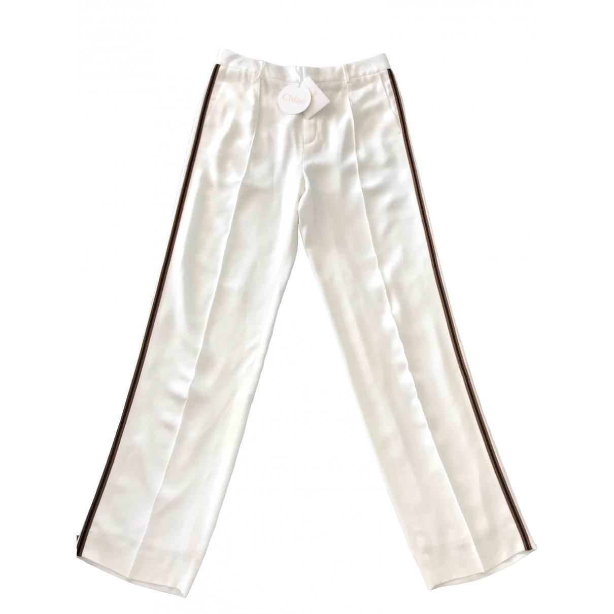 Chloé \N White Trousers for Women 42 FR