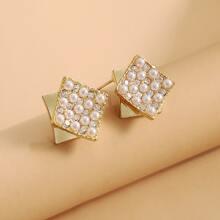 Faux Pearl Geometric Stud Earrings