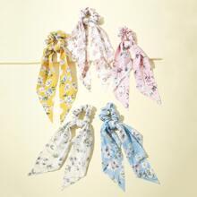 5pcs Ditsy Floral Pattern Scrunchie Scarf