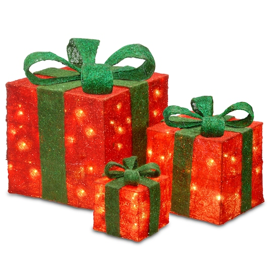 Set Of 3 Red Gift Boxes, Clear Lights By National Tree Company | Michaels®