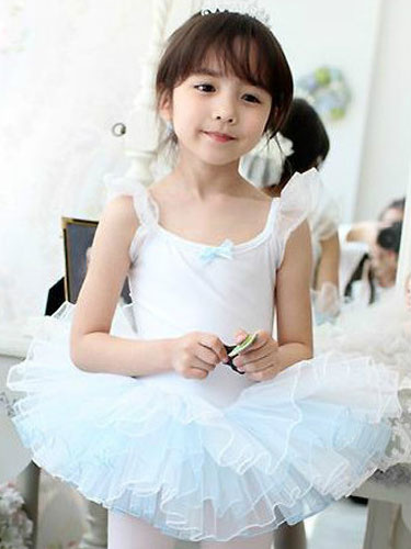 Milanoo Ballet Dance Costumes White Strappy Sleeveless Orange Ruffle Ballerina Costume For Kids