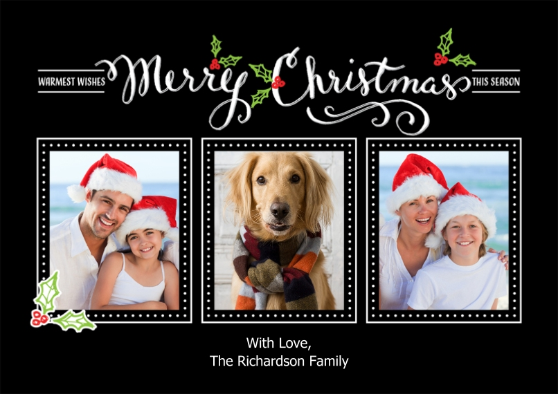 Christmas Photo Cards 5x7 Cards, Standard Cardstock 85lb, Card & Stationery -Christmas Calligraphy Collage