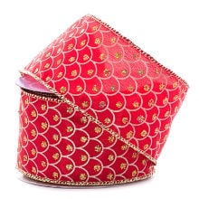 Polyester Red Fish Scale Satin Wired Ribbon - 2-1/2 X 10 Yards - Polyethyleneester - Embellishments & Trims by Paper Mart
