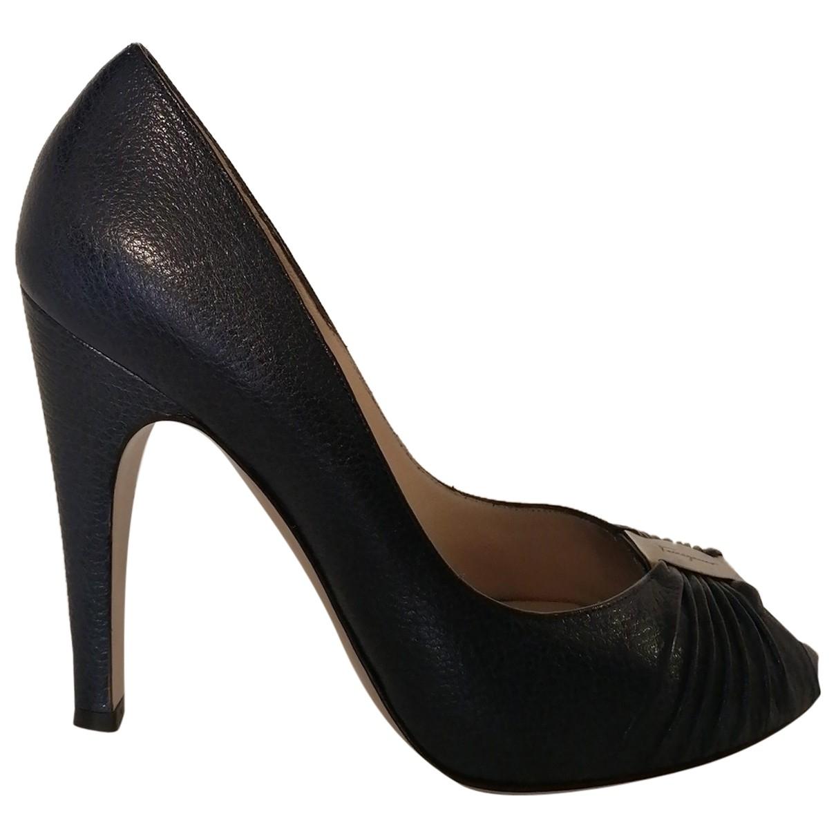 Salvatore Ferragamo \N Navy Leather Heels for Women 37.5 EU