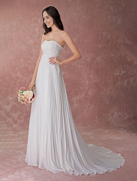Milanoo Ivory Wedding Dress Strapless Pleated Chiffon Beading Beach Bridal Gowns With Train