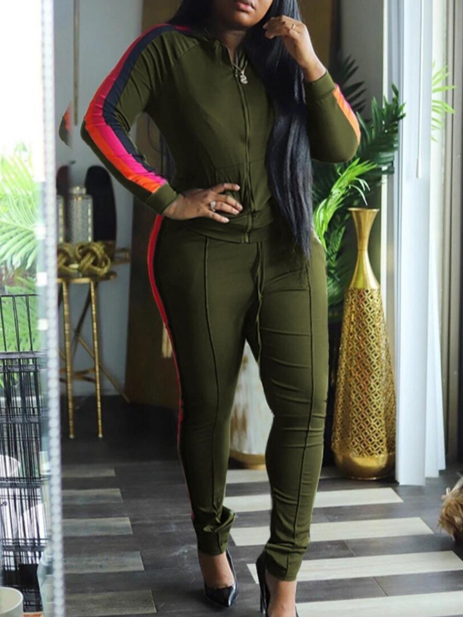 LW lovely Sportswear Zipper Design Patchwork Green Plus Size Two Piece Pants Set