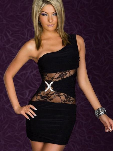Milanoo Vestido de Slim Fit Club 2020 con diamantes de imitacion de un solo hombro