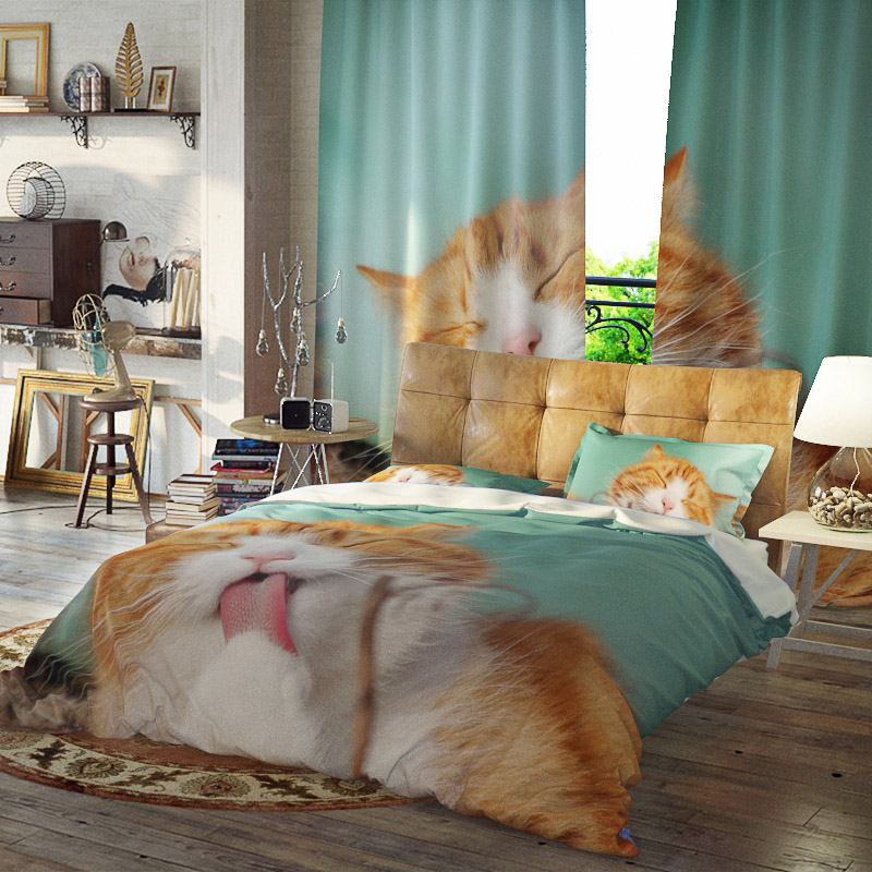 Yellow Cat Duvet Cover Set Reactive Printing Three-Piece Set Polyester Bedding Sets Ultra-soft Microfiber No-fading Twin Full Queen King