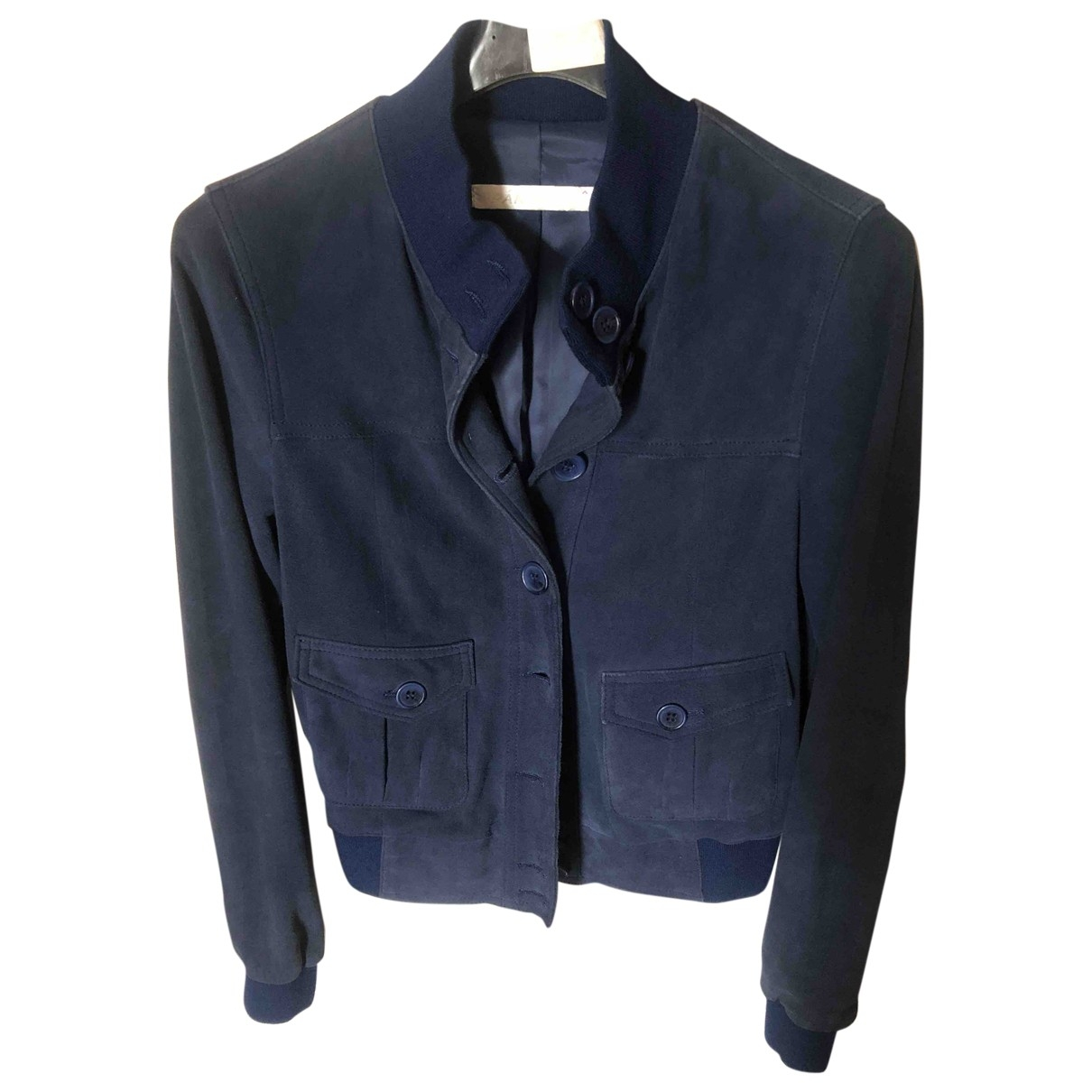 Non Signé / Unsigned \N Blue Suede Leather jacket for Women 40 IT