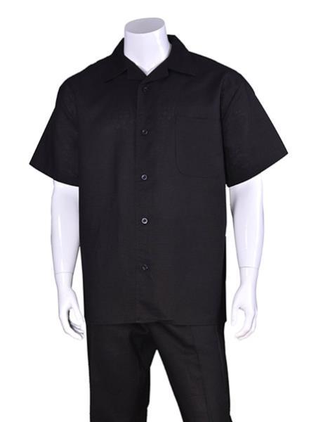 Men's Plain Black Short Sleeve Linen Casual Walking Suit With Pant