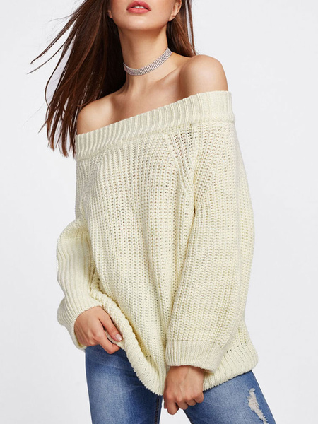 Milanoo Women Pullover Sweater Khaki Off-The-Shoulder Long Sleeves Casual Sweaters