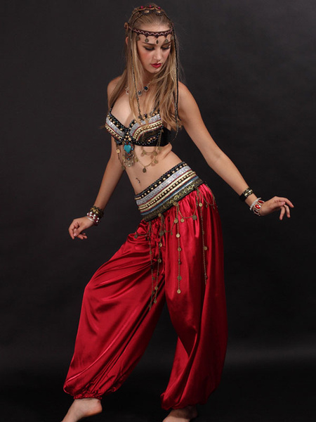Milanoo Belly Dance Costume 3 Piece Harem Pants Costumes Dancing Wear For Women