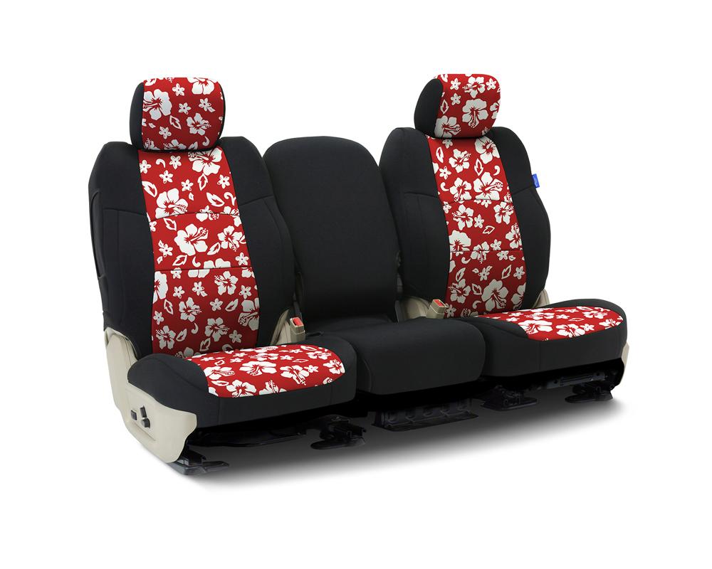 Coverking CSCF6JP7153 Custom Seat Covers 1 Row Neoprene Hawaiian Red   Black Sides Front Jeep Wrangler 2007-2010
