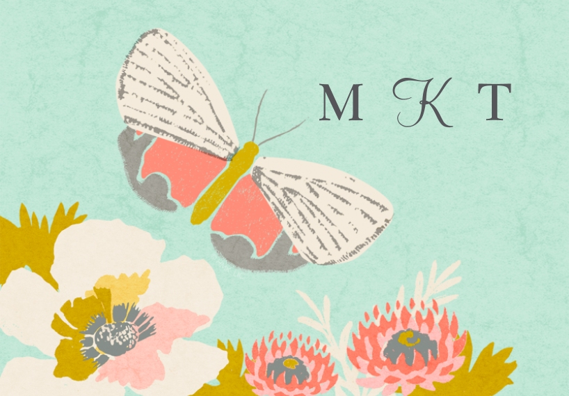 For Her 3.5x5 Folded Notecard, Card & Stationery -Butterfly Garden Monogram Stationery