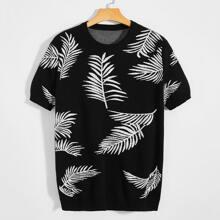 Guys Botanical Pattern Knit Top