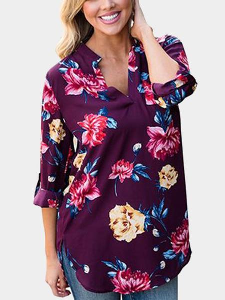 Yoins Purple V-neck Roll up Sleeves Random Floral Print Blouse