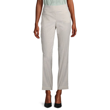 Liz Claiborne Womens Straight Pull-On Pants, 12 , Beige