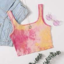 Tie Dye Rib-knit Crop Top