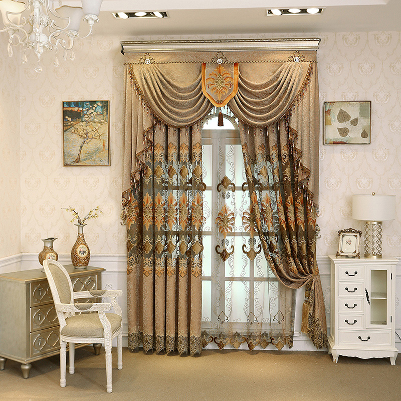 Brown Embroidery Floral Curtain Royal Drapes 2 Panels Sheer Only