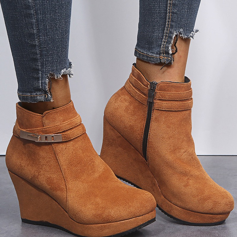 Ericdress Plain Round Toe Side Zipper Short Floss Boots