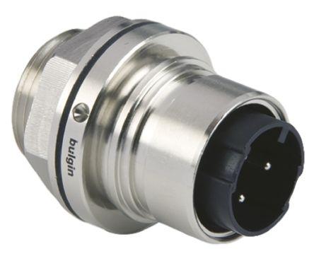 Bulgin Connector, 3 contacts Front Mount Plug, Screw IP66, IP68, IP69K