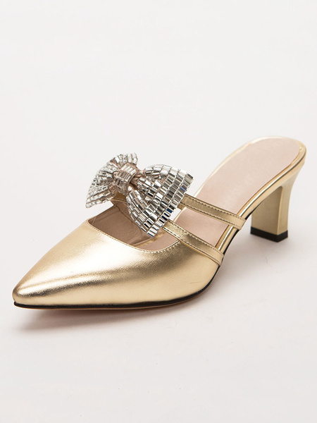 Milanoo Gold Women Mules Shoes Pointed Toe Rhinestones Bow Backless Heels