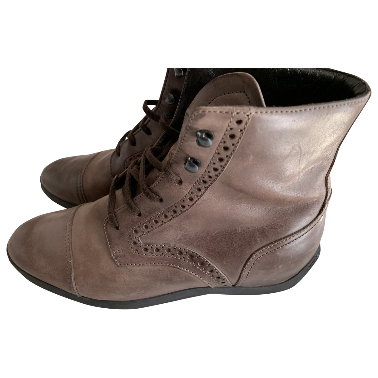Hogan \N Brown Leather Boots for Women 37 EU